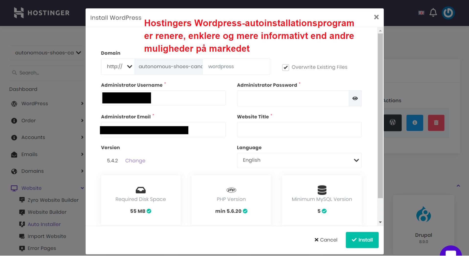 Hostinger WordPress auto installer_DA