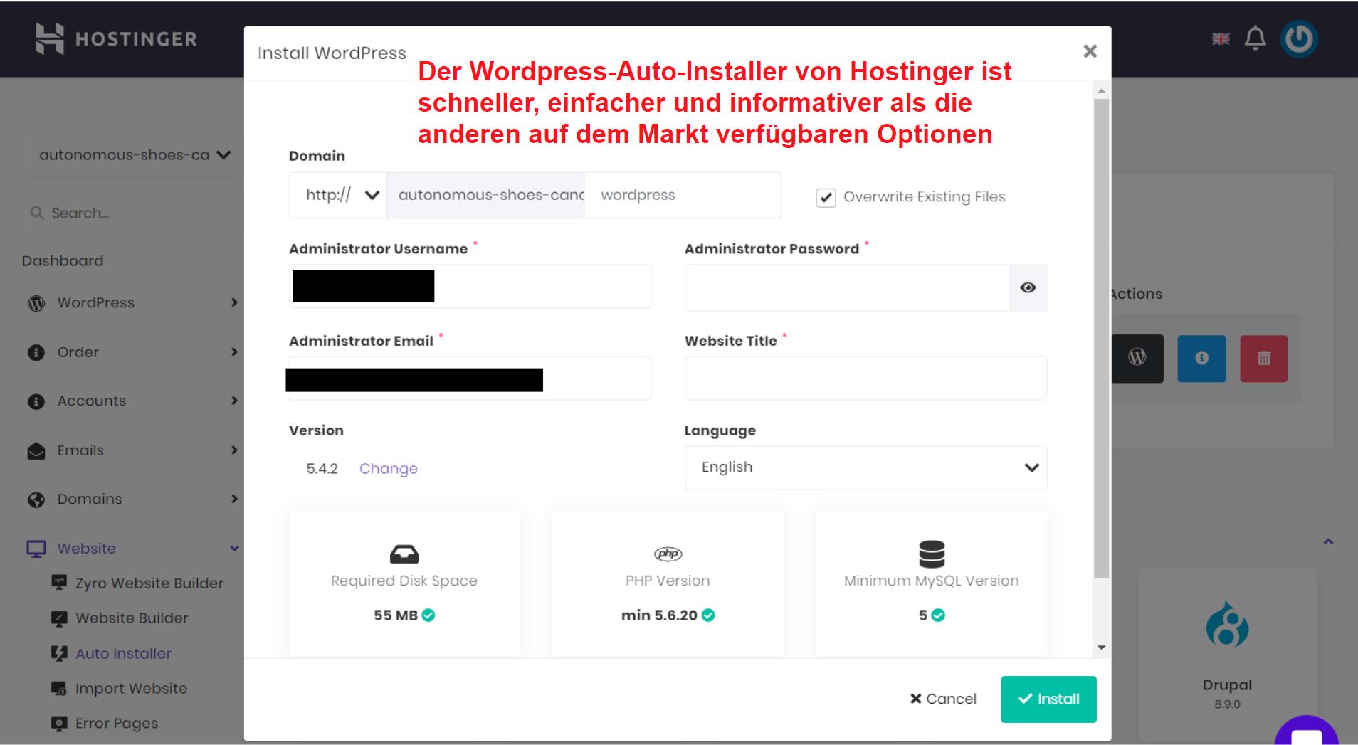 Hostinger WordPress auto installer_DE