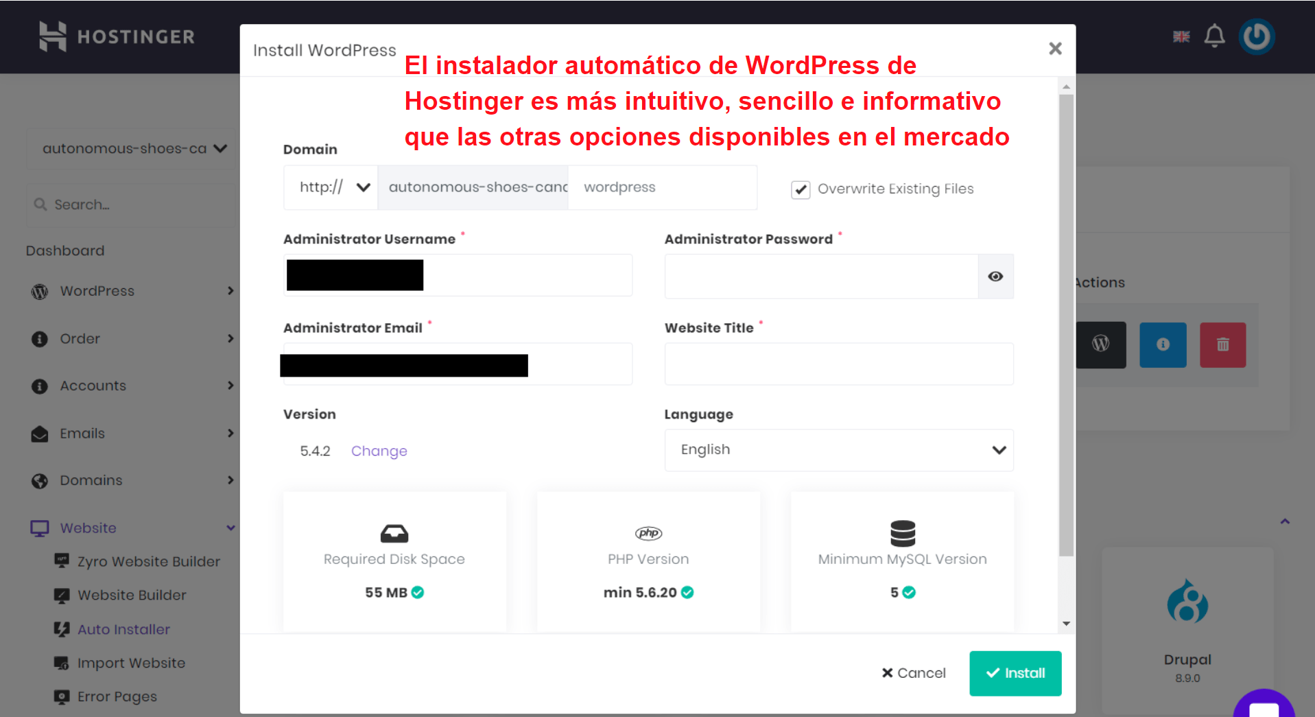 Hostinger WordPress auto installer_ES