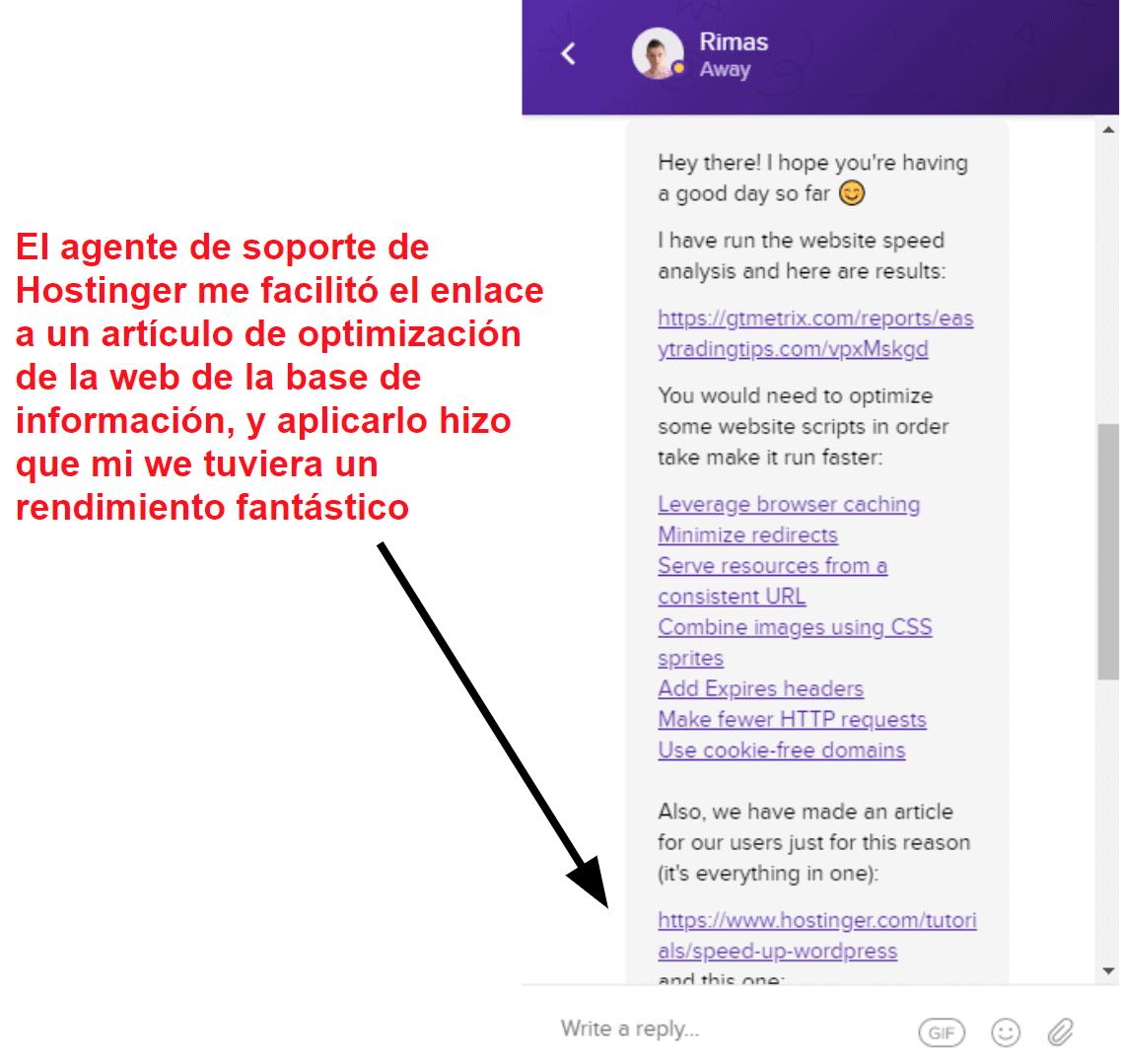 Hostinger live chat optimization support_ES