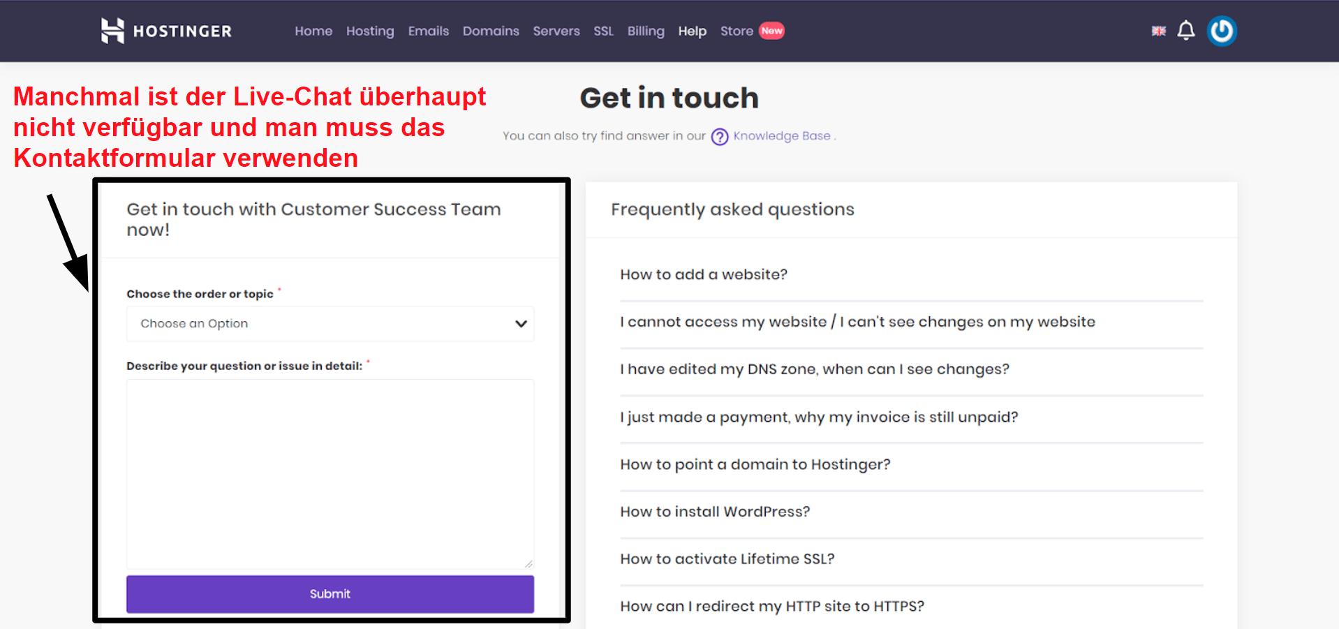 Hostinger support contact form_DE