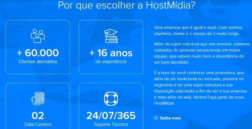HostMídia página por que escolher