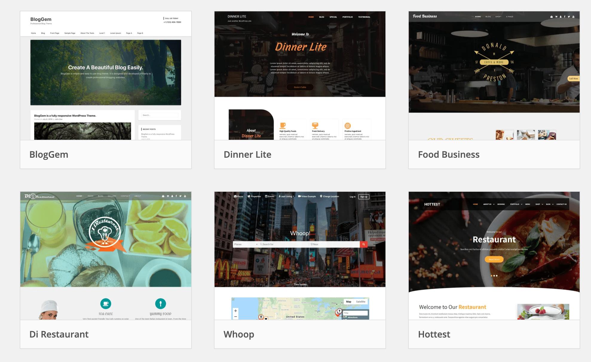 WordPress.com Restaurant Themes