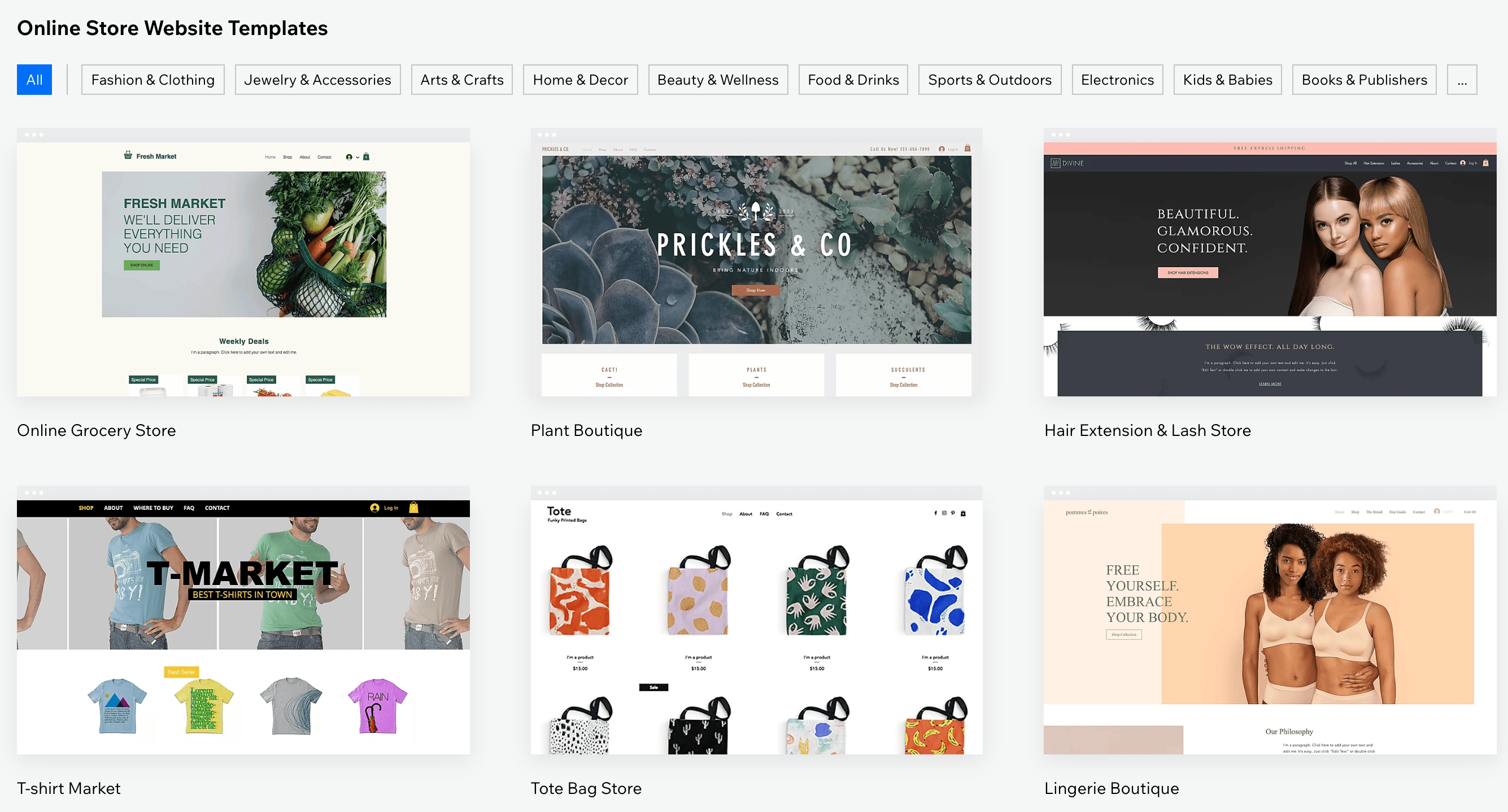 Wix Online Store Website Templates