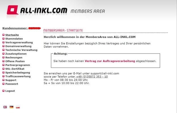Startseite des Membersarea