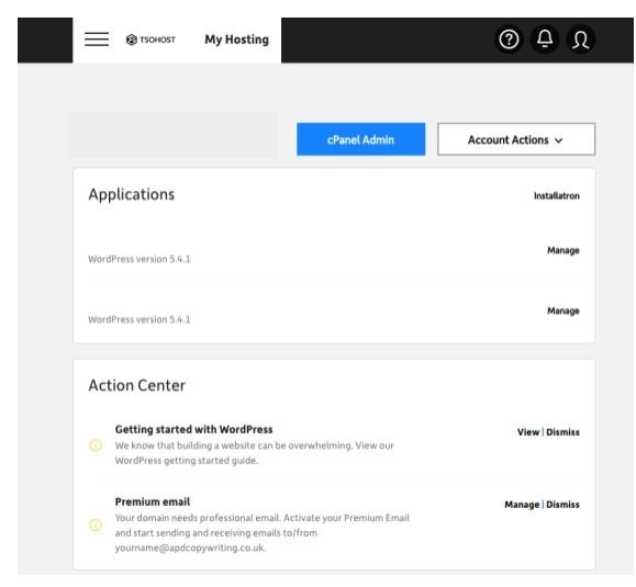 Manage your account in tsoHost's dashboard
