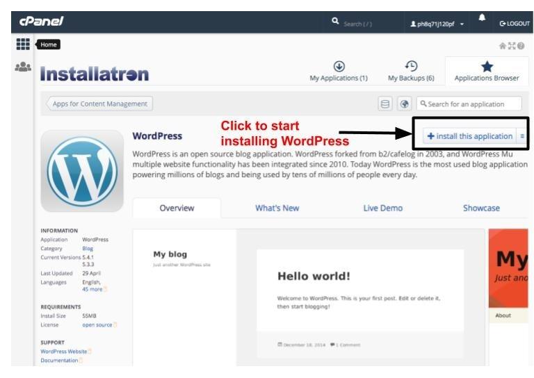 Using Installatron to install WordPress