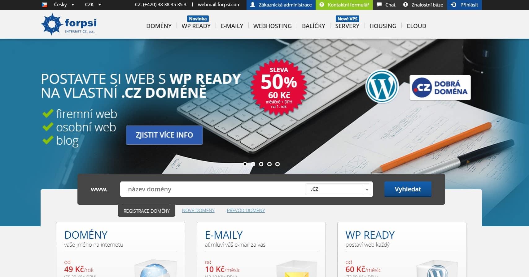 Hlavní strana webu forpsi.com