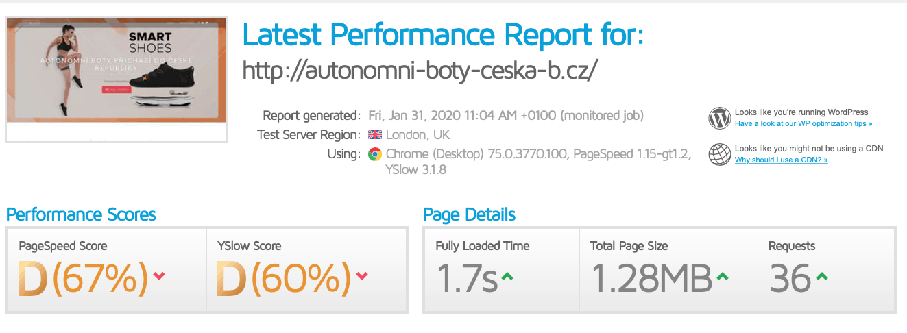 Rychlosti načítání testovaného webu