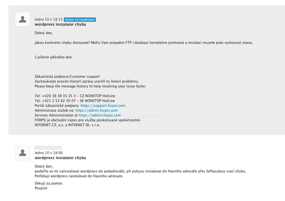 Ukázka odpovědi zákaznické podpory přes kontaktní formulář