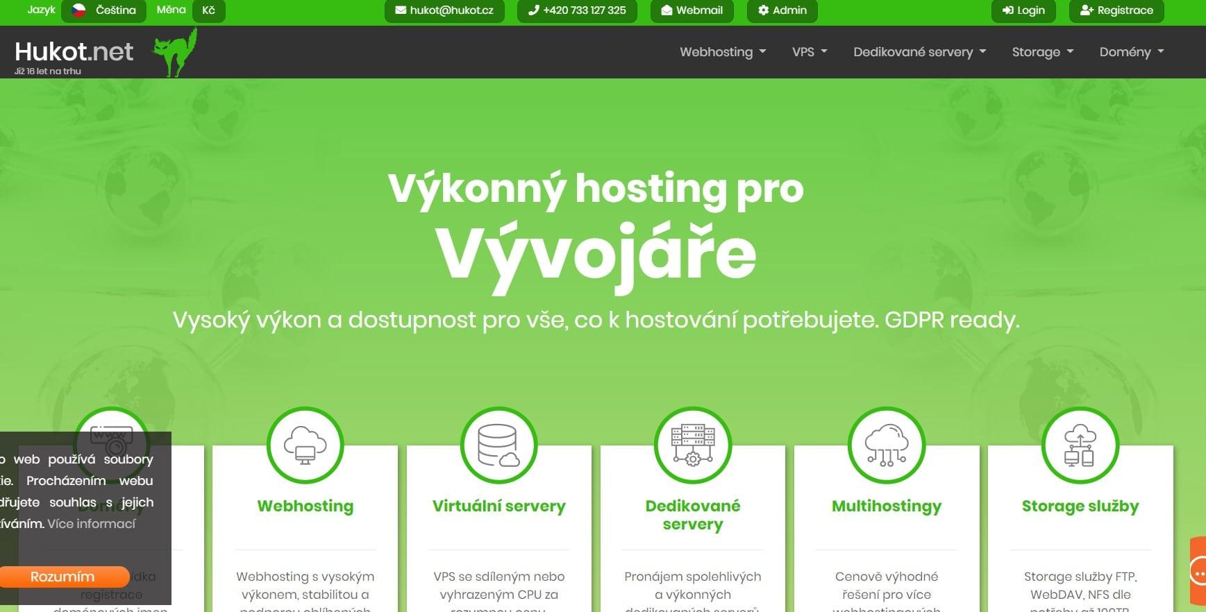 Hlavní strana webu hukot.net