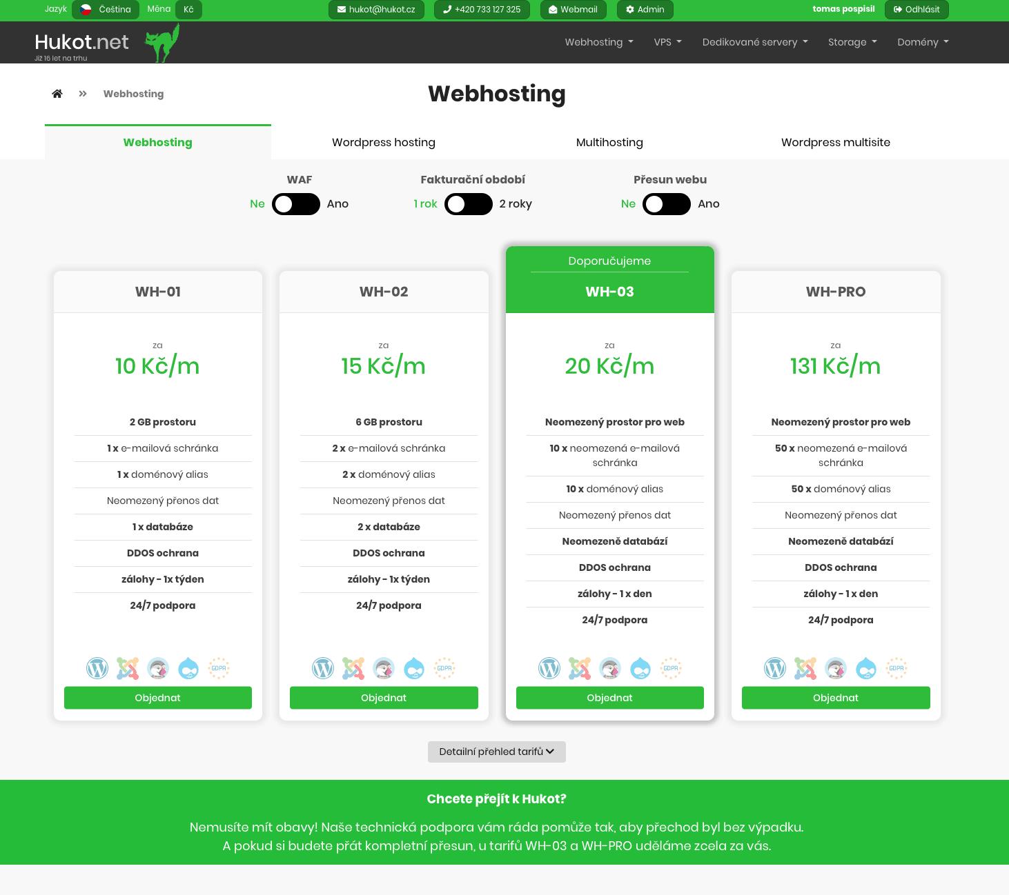 Nabídka balíčků webhostingu