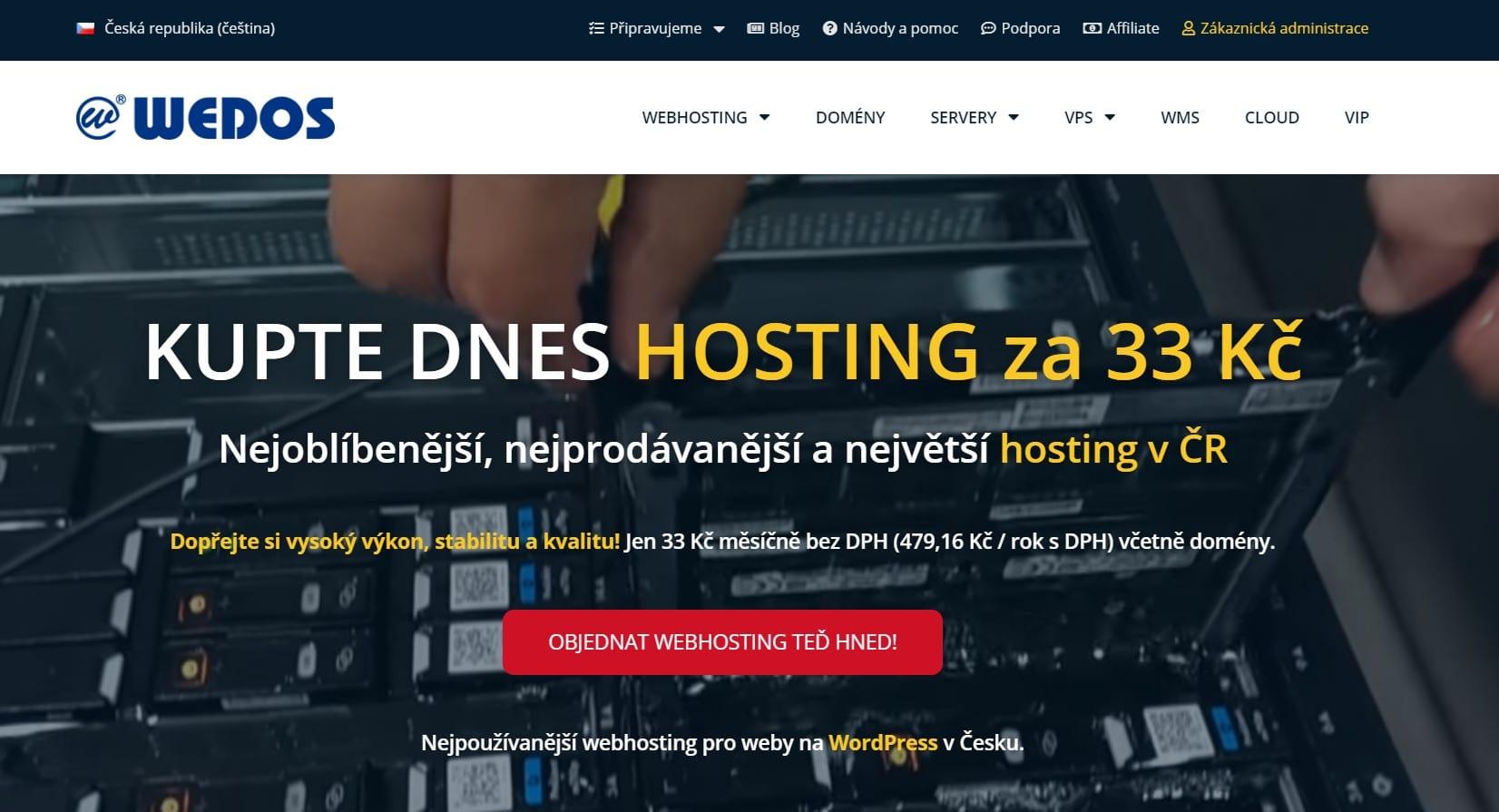 Hlavní strana webu wedos.cz