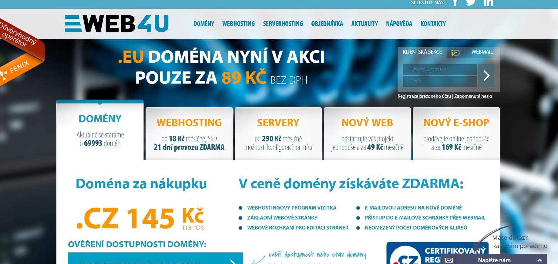 Hlavní strana webu web4u.cz