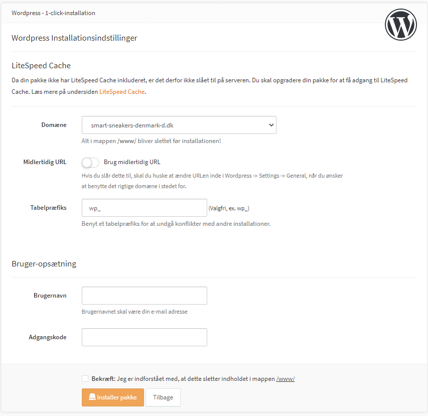 DanDomain – Hurtig opsætning af WordPress