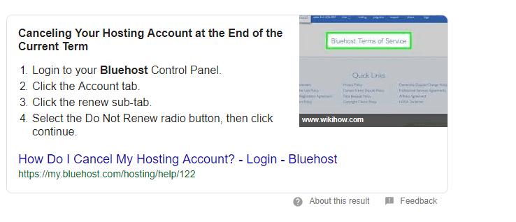 cancel bluehost