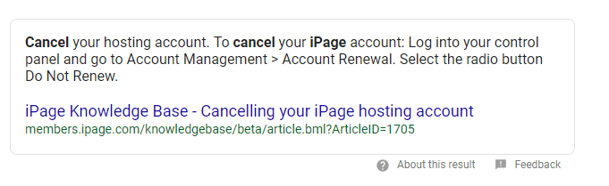 cancel ipage