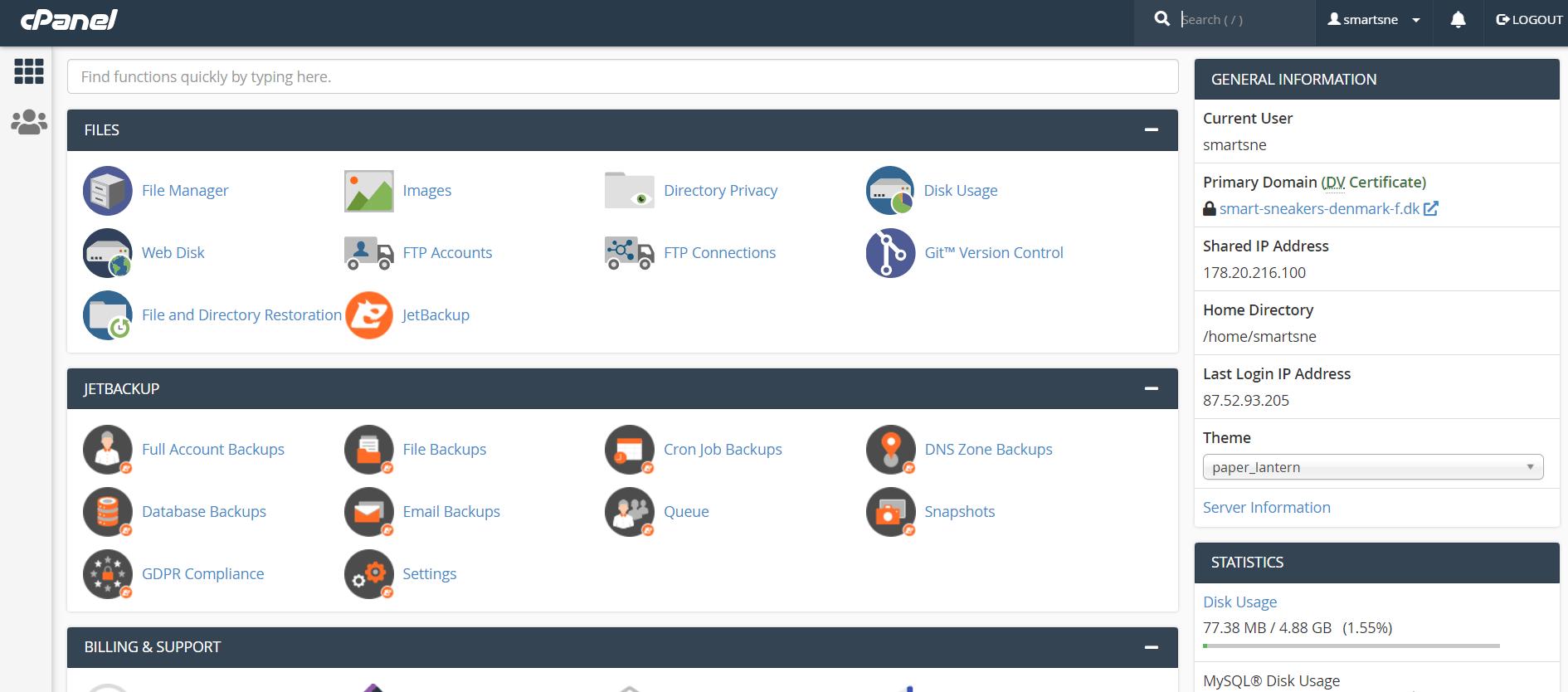 cHosting – Et væld af funktioner med cPanel