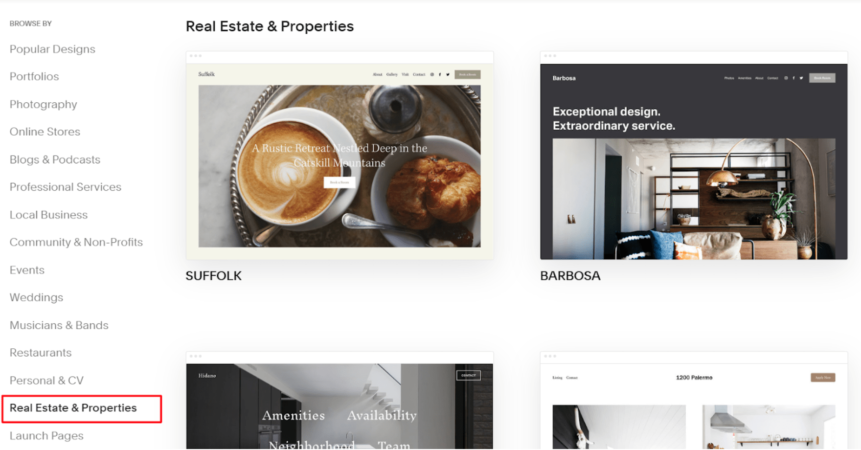 Squarespace templates for real estate