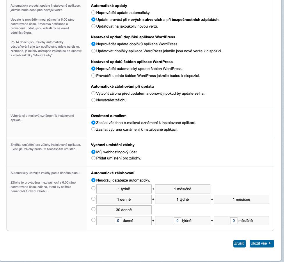 Rozhraní pro správu webhostingu