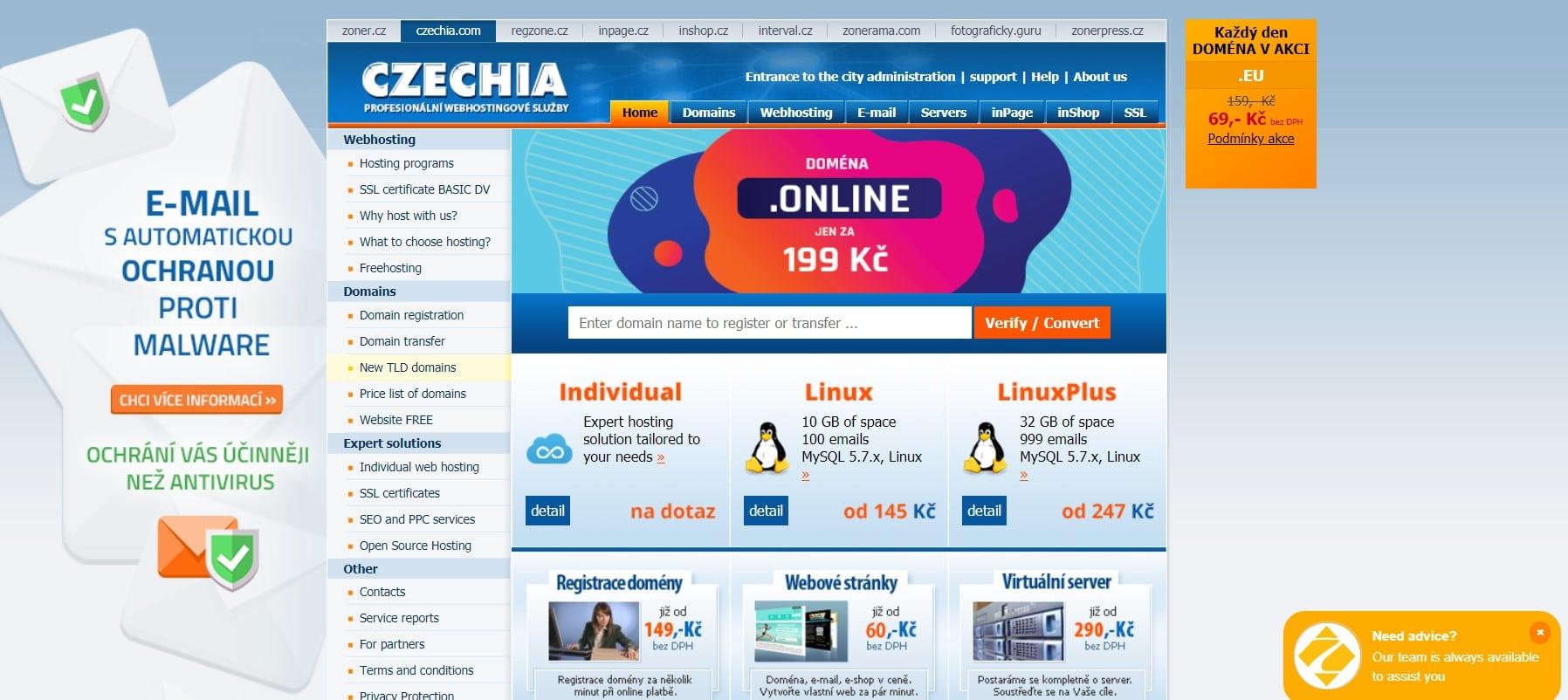 Hlavní strana webu czechia.com