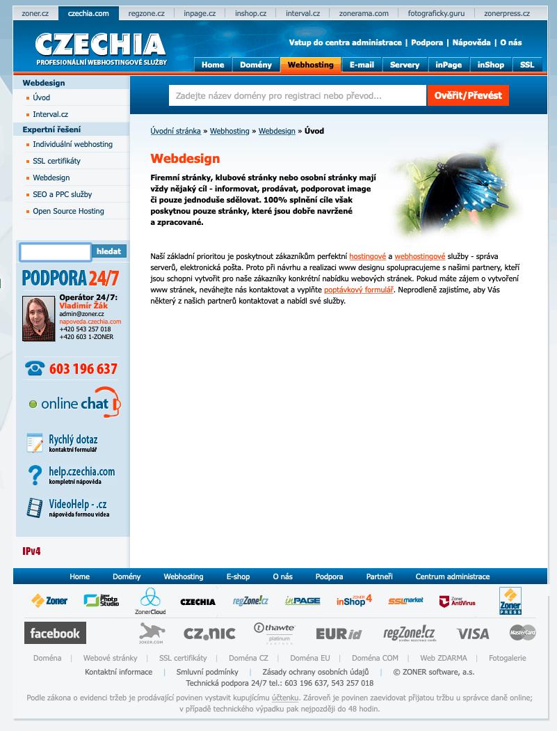 Stránka webdesign na webu czechia.com