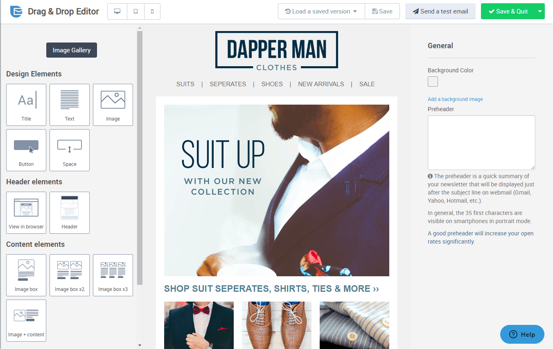 SendinBlue Shopify integration - drag and drop template editor