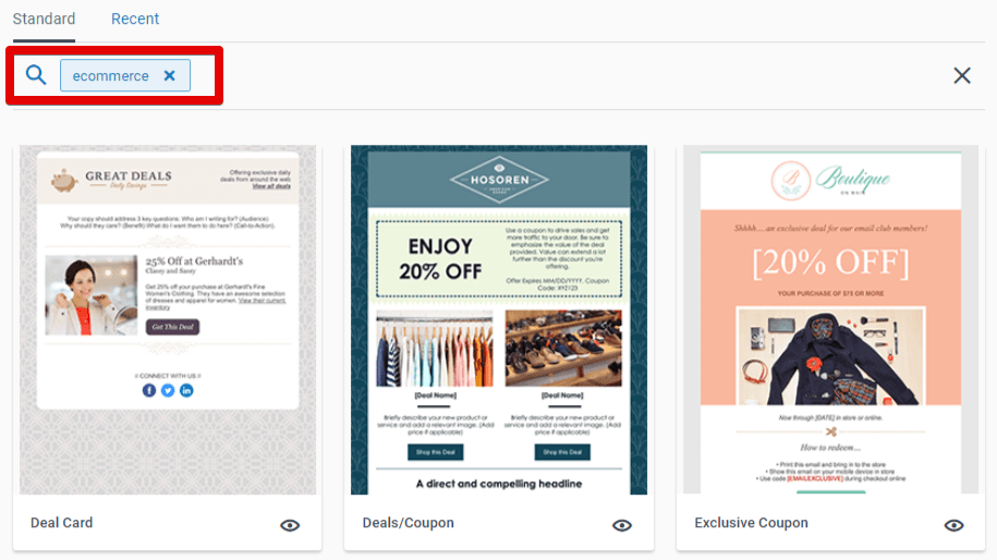 Constant Contact e-commerce email templates