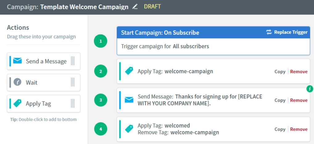 AWeber Shopify email campaign sequence builder