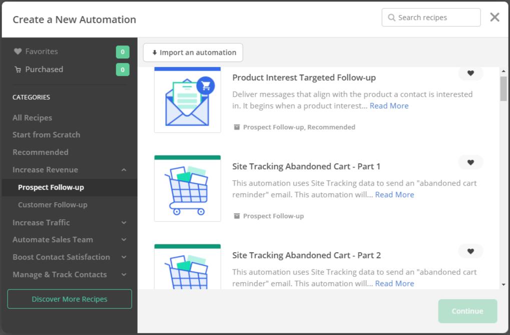 ActiveCampaign Shopify integration - automation templates