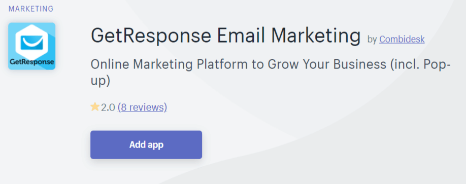 GetResponse app integration with Shopify