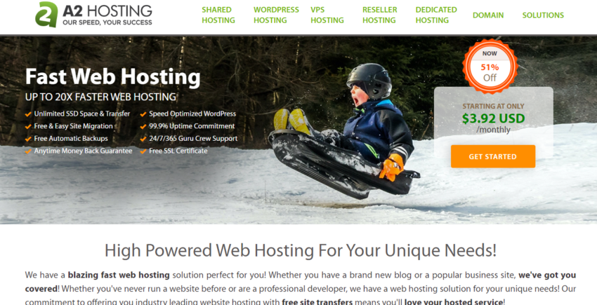 A2 Hosting - homepage screenshot