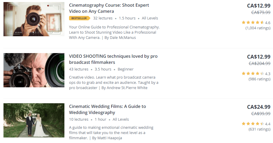 udemy course variety