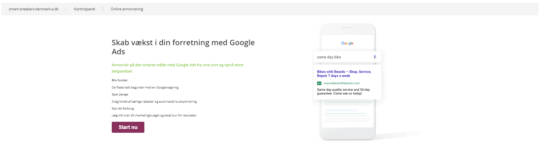 One.com – Annoncering med One