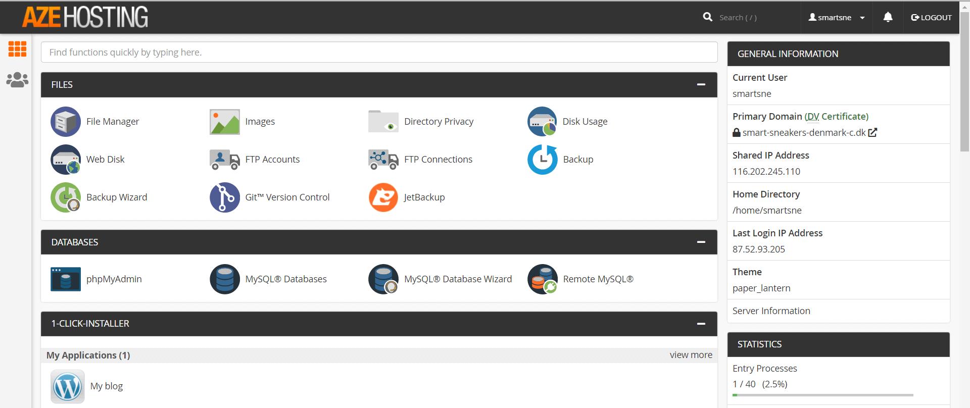AzeHosting – Et væld af funktioner med cPanel