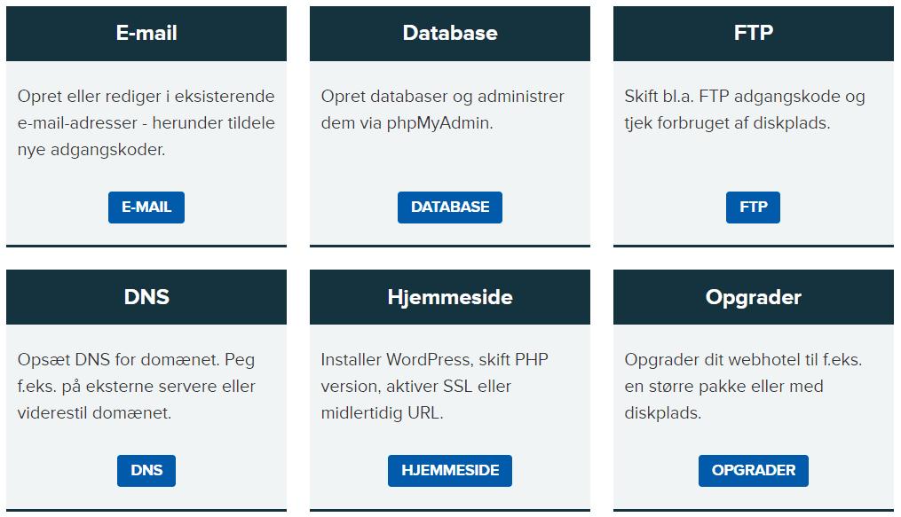 Netsite – Hurtig adgang til de forskellige indstillinger