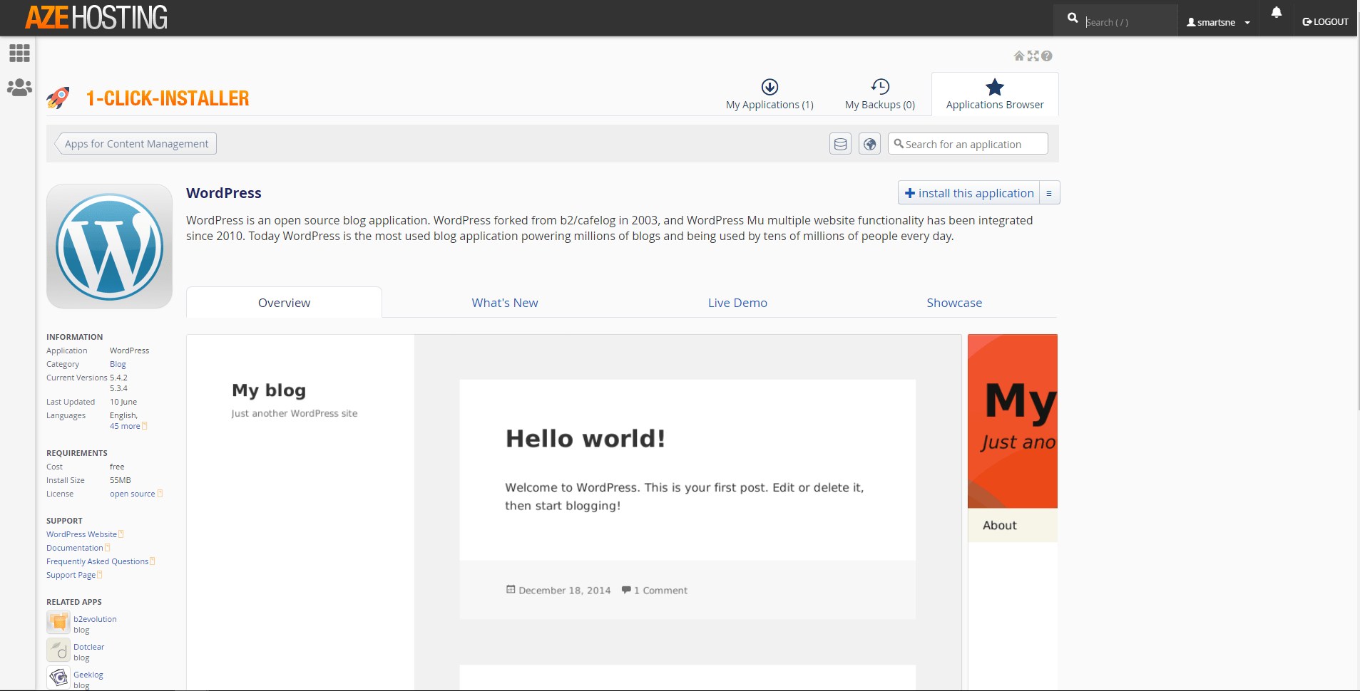 AzeHosting – Nem installation af WordPress
