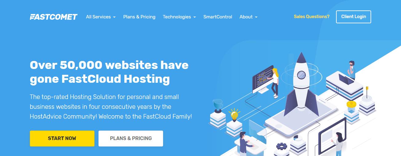 Best SSD hosting - FastComet homepage
