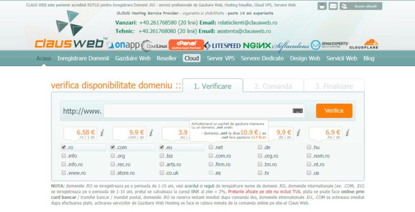 Romanian Hosting Comparison Page
