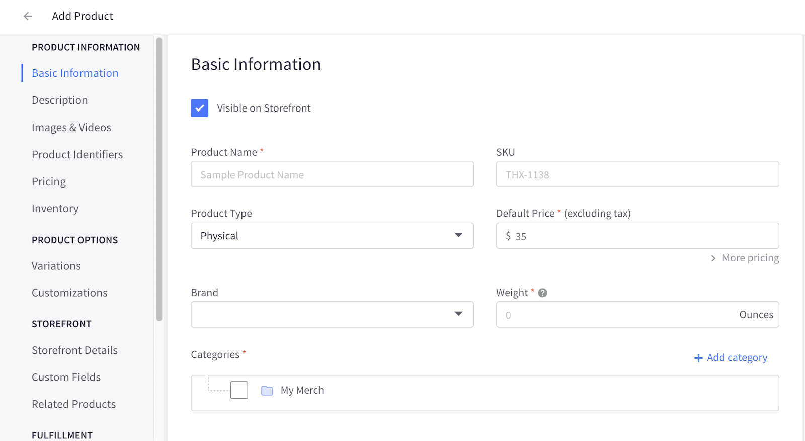 Partial view of BigCommerce's product information fields