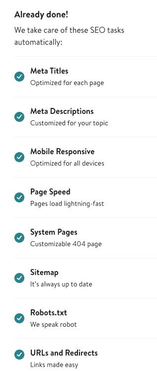 Jimdo's automatic SEO checklist