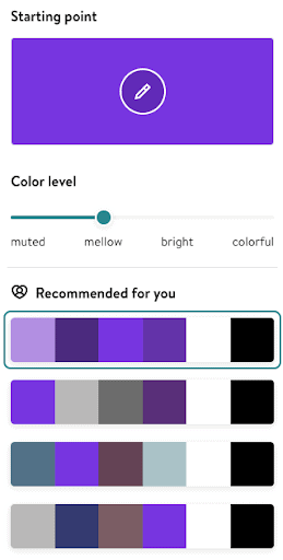 Jimdo's color palette creator automatically generates color groupings