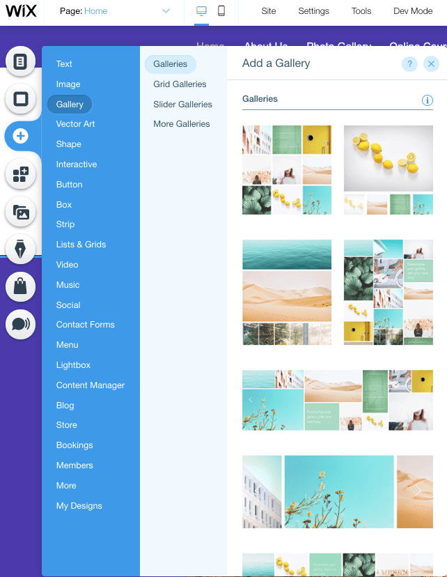 Wix has dozens of elements and layouts to add to your site