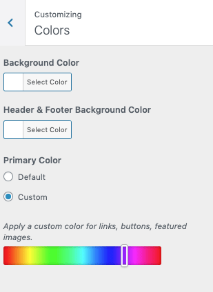 WordPress.com's customizer varies based on your template