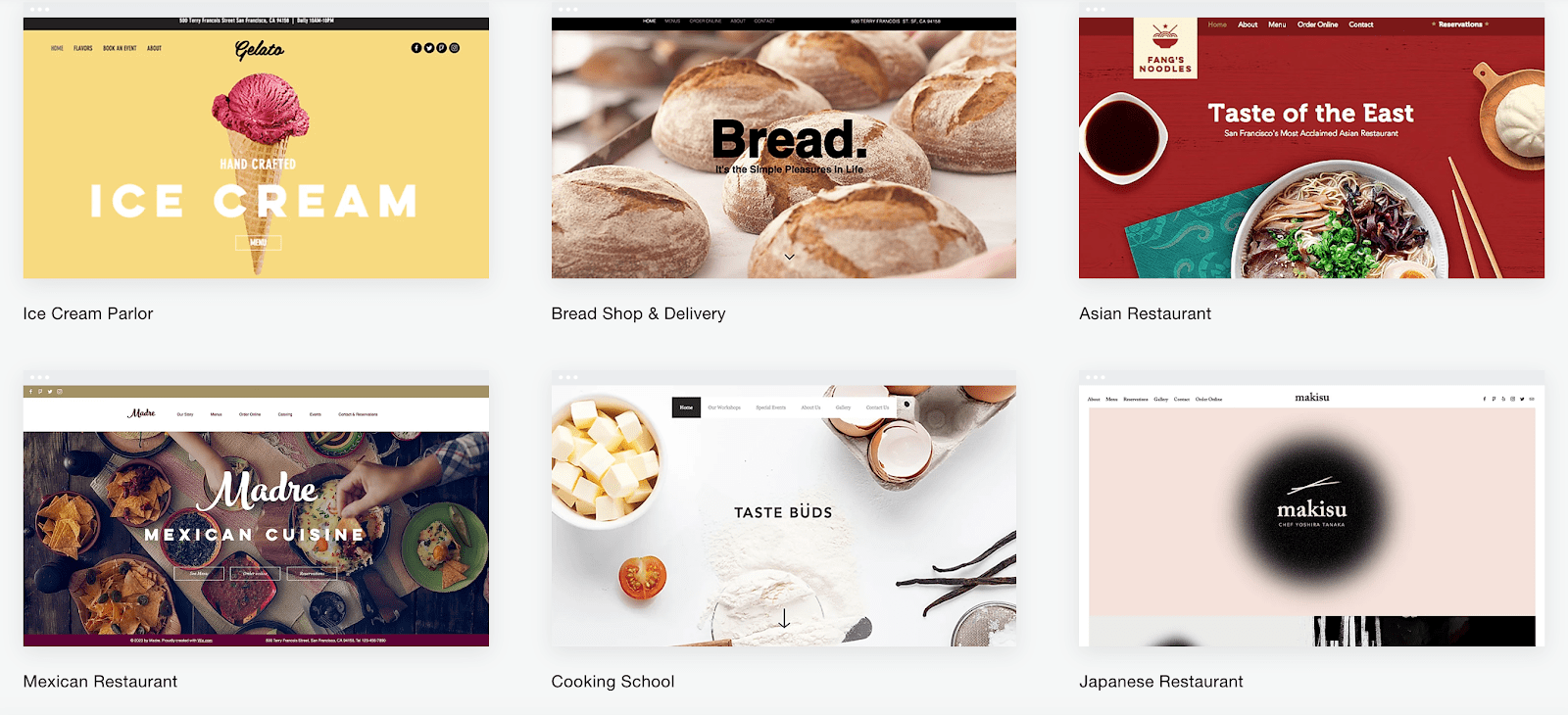 Wix website templates for restaurants