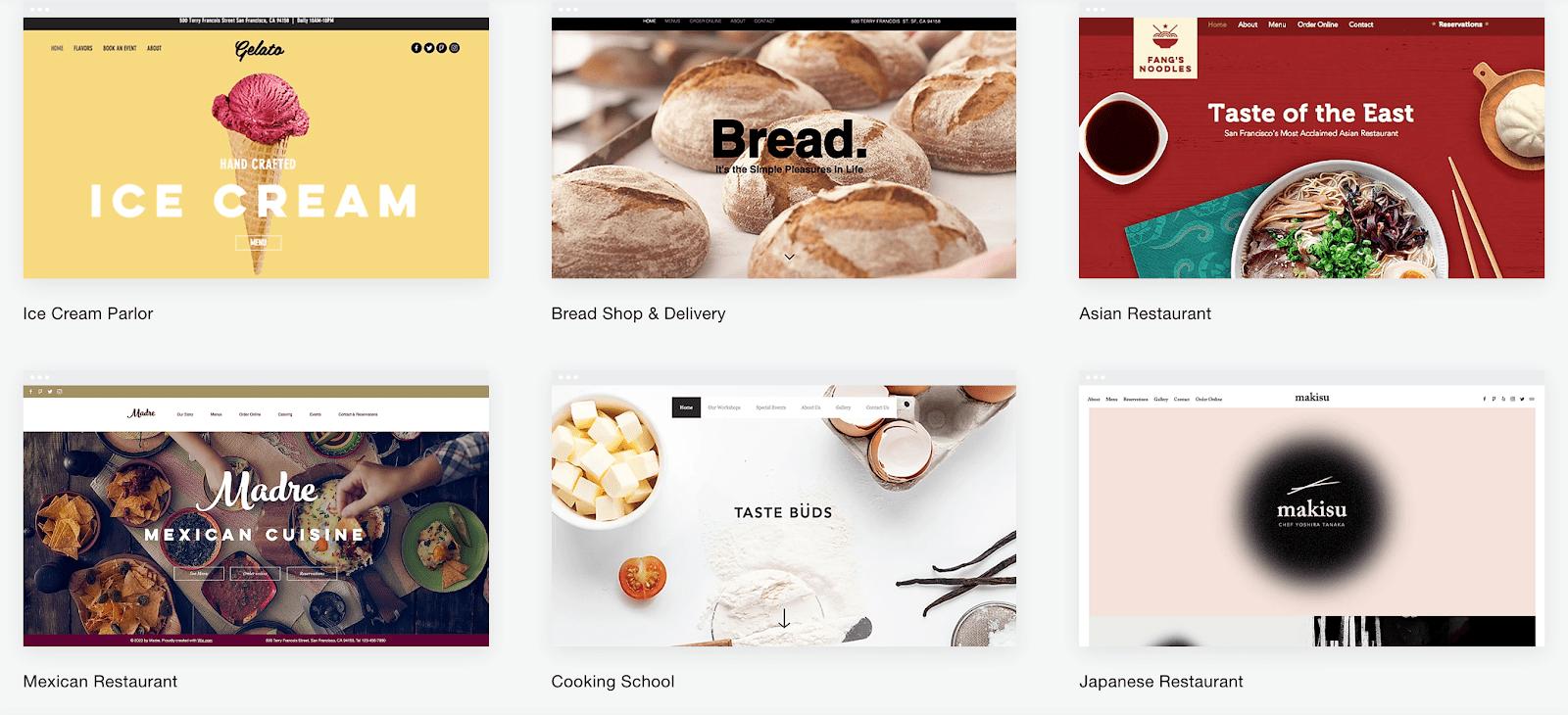 Wix website templates for restaurants