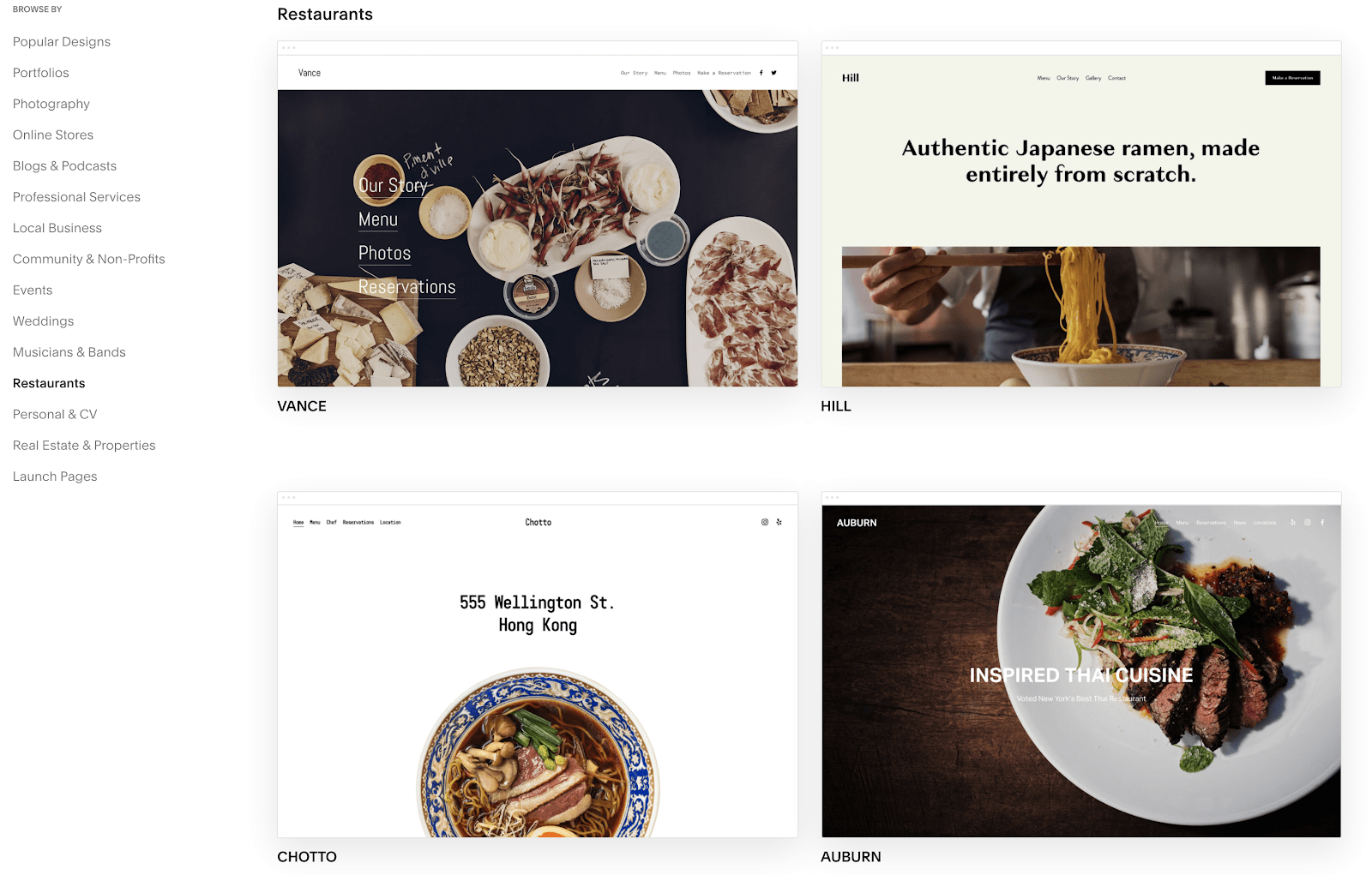Squarespace templates for restaurant websites