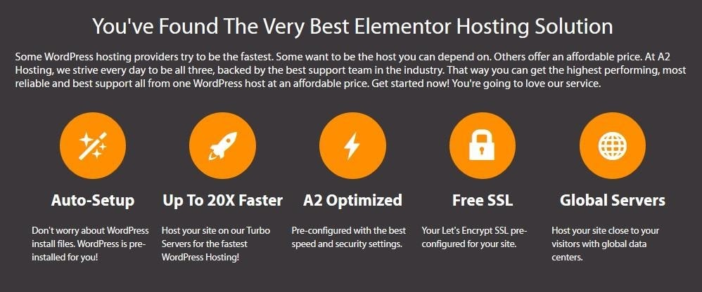 A2 Hosting - Elementor features