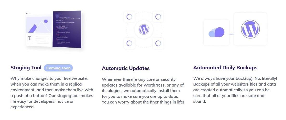 Hostinger - automated updates and backups