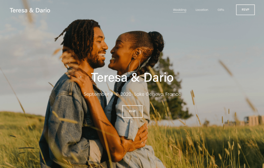 Squarespace Dario wedding website template